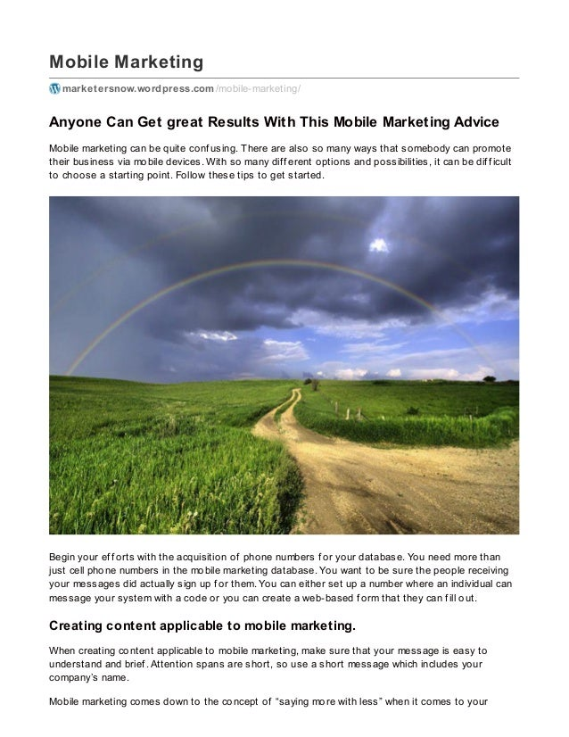 Mobile Marketing marketersnow.wordpress.com/mobile-marketing/ Anyone Can Get great Results With This Mobile Marketing Advi...