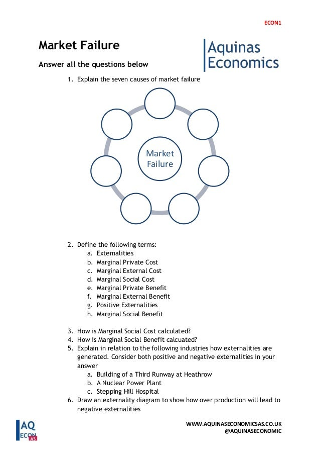 ECON1 WWW.AQUINASECONOMICSAS.CO.UK @AQUINASECONOMIC Market Failure Answer all the questions below 1. Explain the seven cau...
