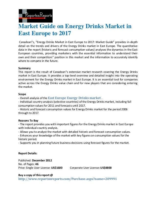 "Market Guide on Energy Drinks Market inEast Europe to 2017Canadeans, ""Energy Drinks Market in East Europe to 2017: Market ..."