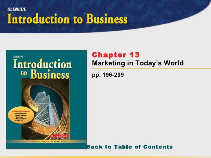 pp. 196-209 Chapter 13   Marketing in Today's World