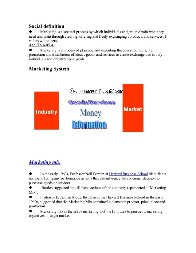 Social definition  Marketing is a societal process by which individuals and group obtain what they need and want through ...