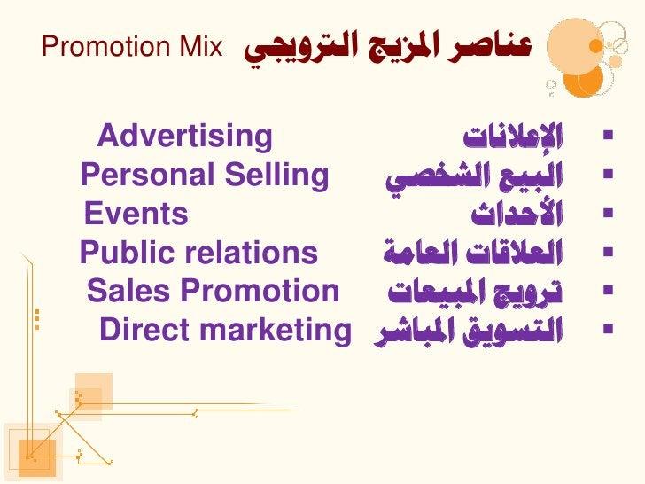 Promotion Mix   ٟلٕبصش ادلض٠ح اٌرتٚجي   Advertising              اإللالٔبد     Personal Selling   ٟاٌج١ك اٌشخص     ...