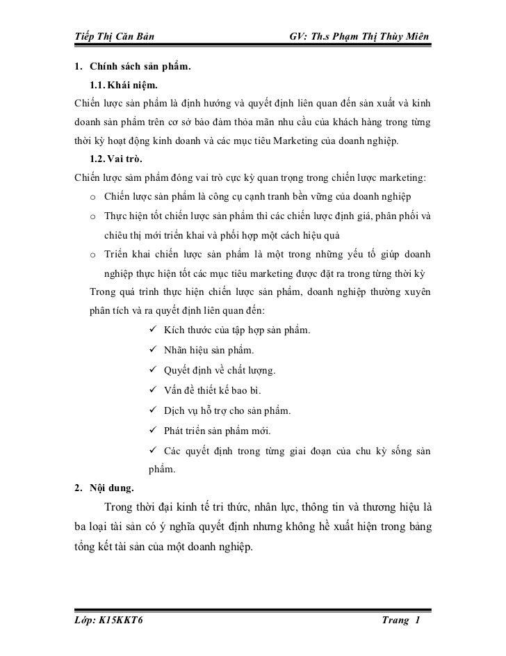 Tiếp Thị Căn Bản                                 GV: Th.s Phạm Thị Thùy Miên1. Chính sách sản phẩm.   1.1. Khái niệm.Chiến...
