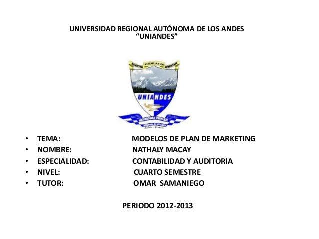 """UNIVERSIDAD REGIONAL AUTÓNOMA DE LOS ANDES                             """"UNIANDES""""•   TEMA:                  MODELOS DE PLA..."""