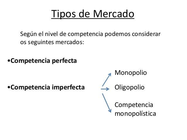 Tipos de Mercado Según el nivel de competencia podemos considerar os seguintes mercados:  •Competencia perfecta Monopolio ...