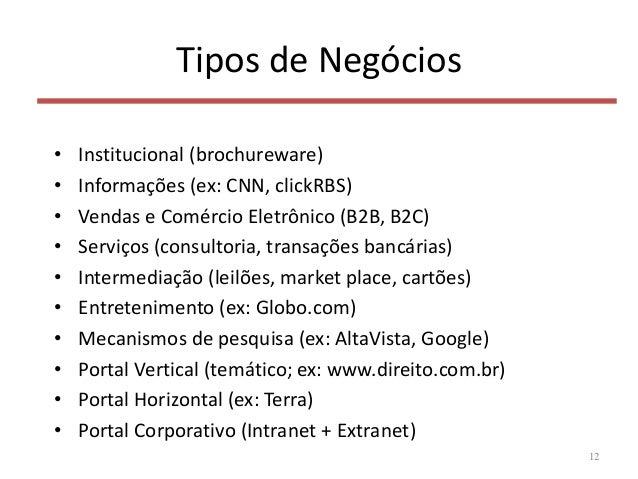 Tipos de Negócios • Institucional (brochureware) • Informações (ex: CNN, clickRBS) • Vendas e Comércio Eletrônico (B2B, B2...