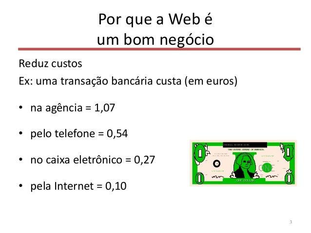 Por que a Web é um bom negócio Reduz custos Ex: uma transação bancária custa (em euros) • na agência = 1,07 • pelo telefon...