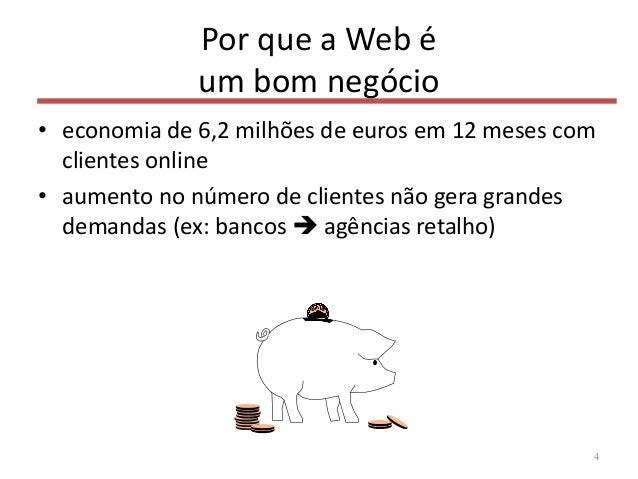 Por que a Web é um bom negócio • economia de 6,2 milhões de euros em 12 meses com clientes online • aumento no número de c...