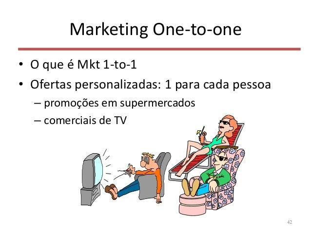 Marketing One-to-one • O que é Mkt 1-to-1 • Ofertas personalizadas: 1 para cada pessoa – promoções em supermercados – come...