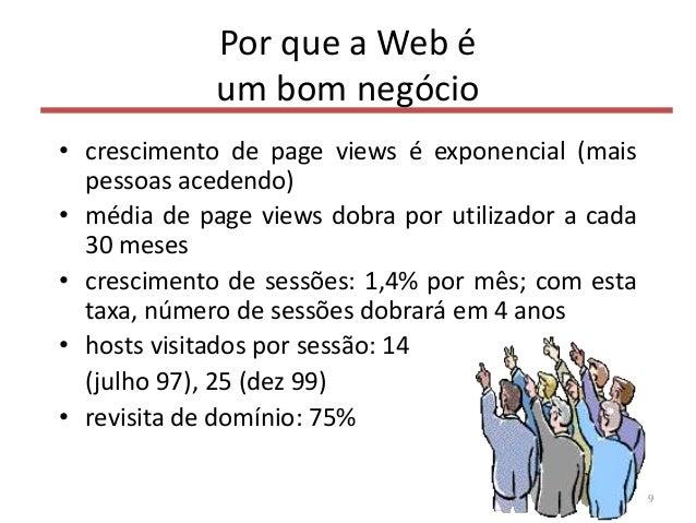 Por que a Web é um bom negócio • crescimento de page views é exponencial (mais pessoas acedendo) • média de page views dob...