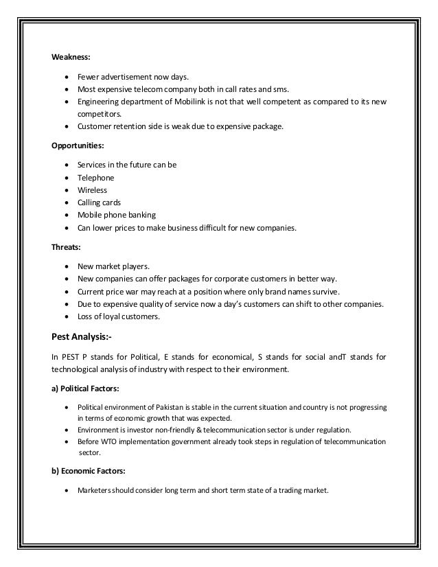 mobilink swot analysis The political factors affecting business are often given a lot of importance swot analysis of the ipad product line forgetting to do a swot analysis before.