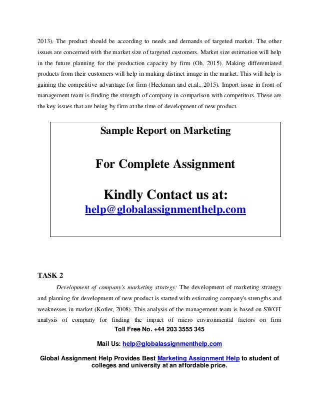 Sample Report On Marketing By Global Assignment Help