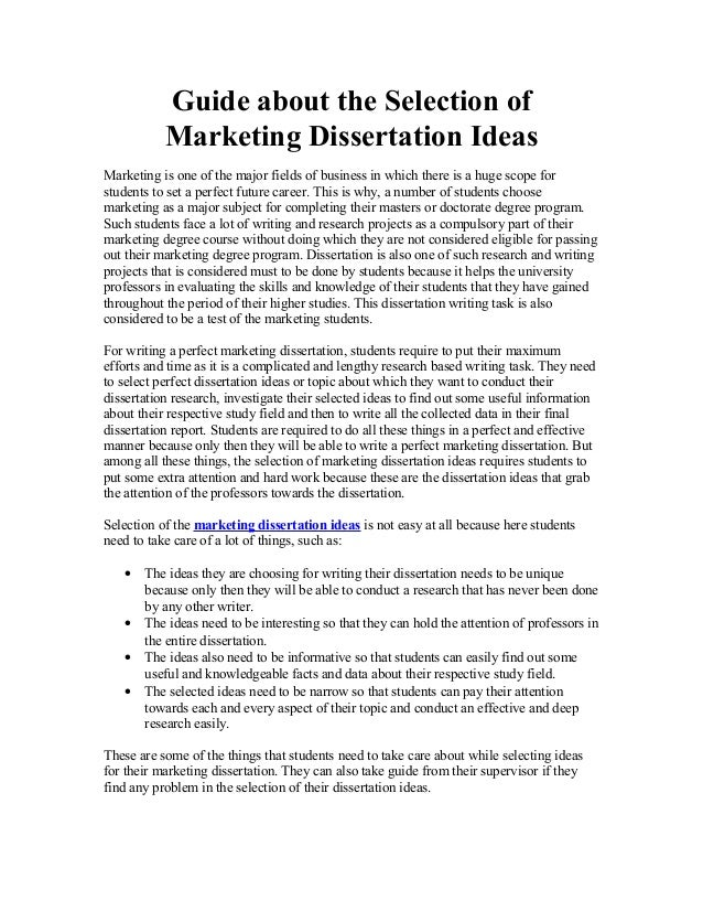 Dissertation topics tourism marketing