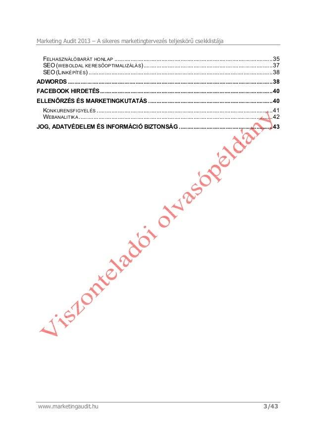 Marketing Audit 2013 - Viszonteladói olvasópéldány Slide 3
