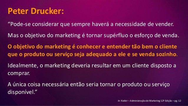 """Peter Drucker: """"Pode-se considerar que sempre haverá a necessidade de vender. Mas o objetivo do marketing é tornar supérfl..."""