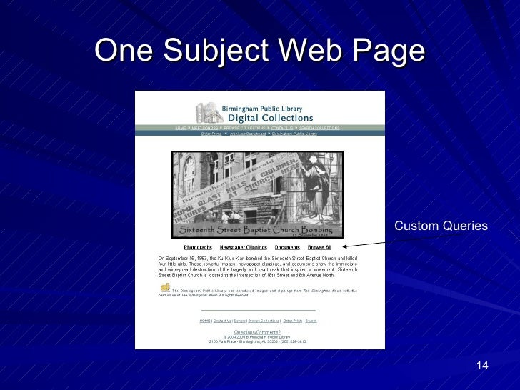 One Subject Web Page Custom Queries