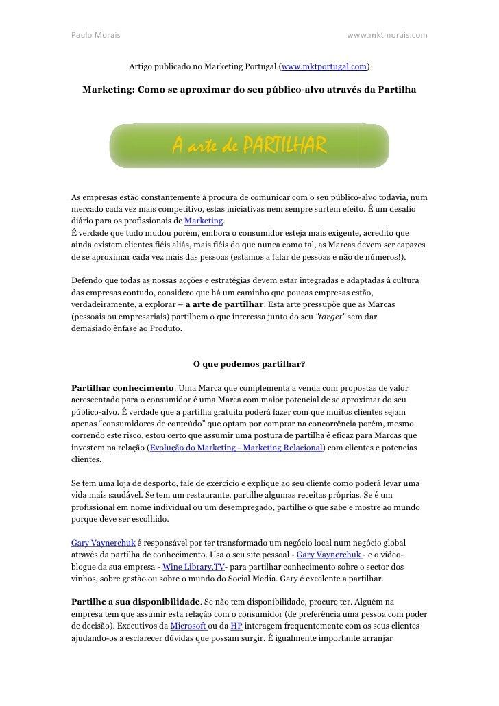 Paulo Morais                                                               www.mktmorais.com               Artigo publicad...
