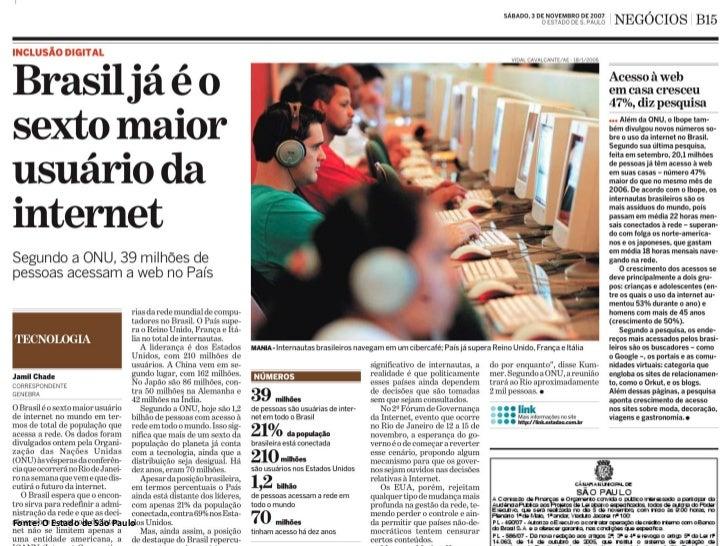 A INTERNET TEM 62 MILHÕES DE USUÁRIOS NO BRASIL.     OU VOCÊ MUDA O SEU CONCEITO DE INTERNET, OU VOCÊ MUDA     SEU CONCEIT...