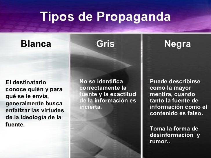 GiovanniMartínezUNAM2003 Tipos de Propaganda El destinatario conoce quién y para qué se le envía, generalmente busca enfat...