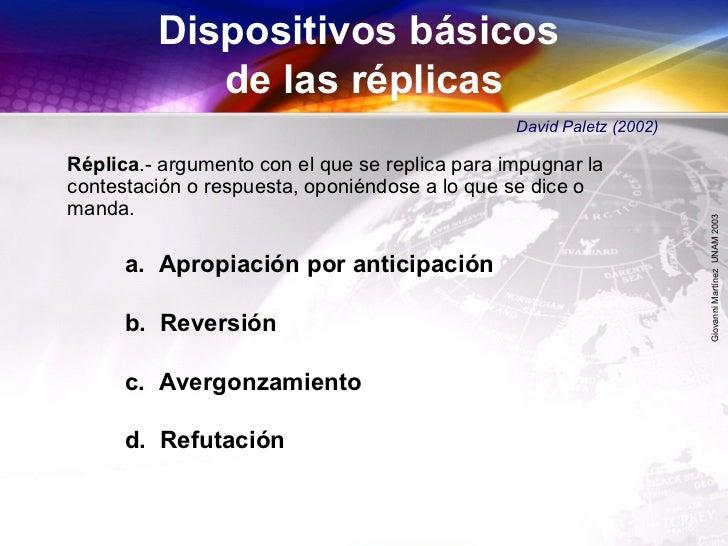 GiovanniMartínezUNAM2003 a. Apropiación por anticipación b. Reversión c. Avergonzamiento d. Refutación Réplica.- argumento...
