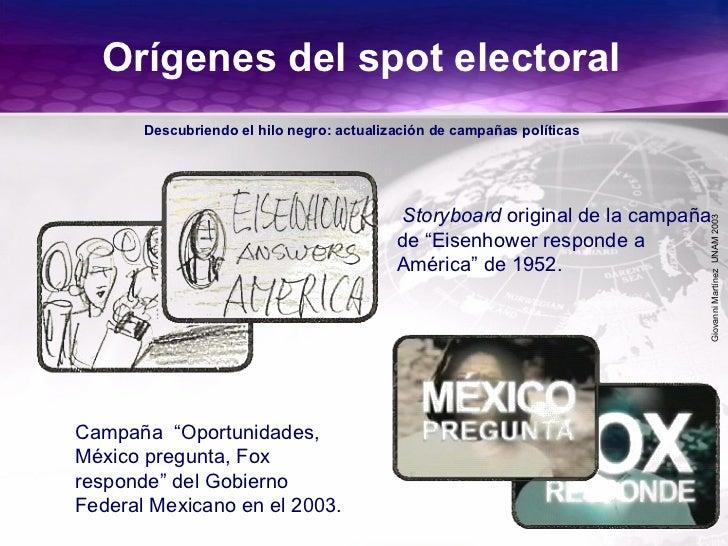GiovanniMartínezUNAM2003 Orígenes del spot electoral Descubriendo el hilo negro: actualización de campañas políticas Campa...