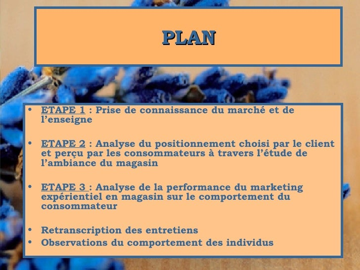 <ul><li>ETAPE 1 : Prise de connaissance du marché et de l'enseigne  </li></ul><ul><li>ETAPE 2 : Analyse du positionnemen...