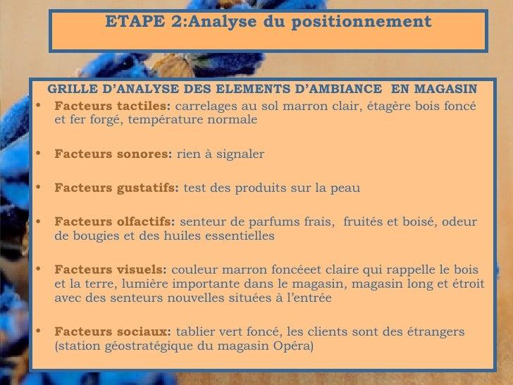 <ul><li>GRILLE D'ANALYSE DES ELEMENTS D'AMBIANCE  EN MAGASIN </li></ul><ul><li>Facteurs tactiles :  carrelages au sol marr...