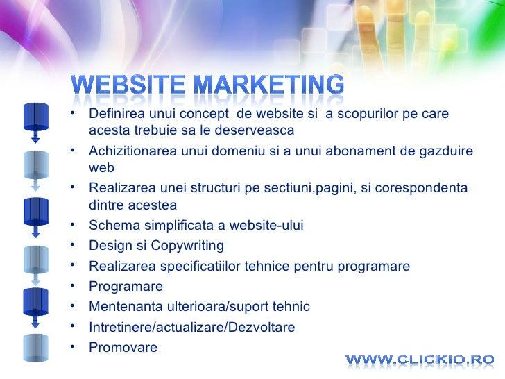 <ul><li>Definirea unui concept  de website si  a scopurilor pe care acesta trebuie sa le deserveasca </li></ul><ul><li>Ach...