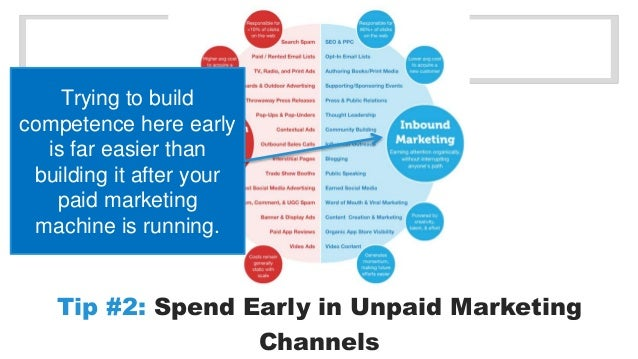 Tip #2: Spend Early in Unpaid Marketing  Channels  Trying to build  competence here early  is far easier than  building it...