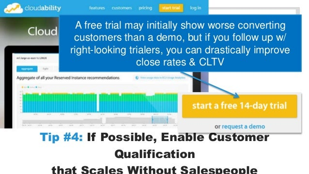 A free trial may initially show worse converting  customers than a demo, but if you follow up w/  right-looking trialers, ...
