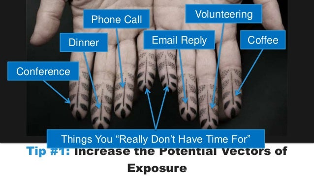 Dinner  Volunteering  Tip #1: Increase the Potential Vectors of  Exposure  Conference  Phone Call  Coffee  Email Reply  Th...