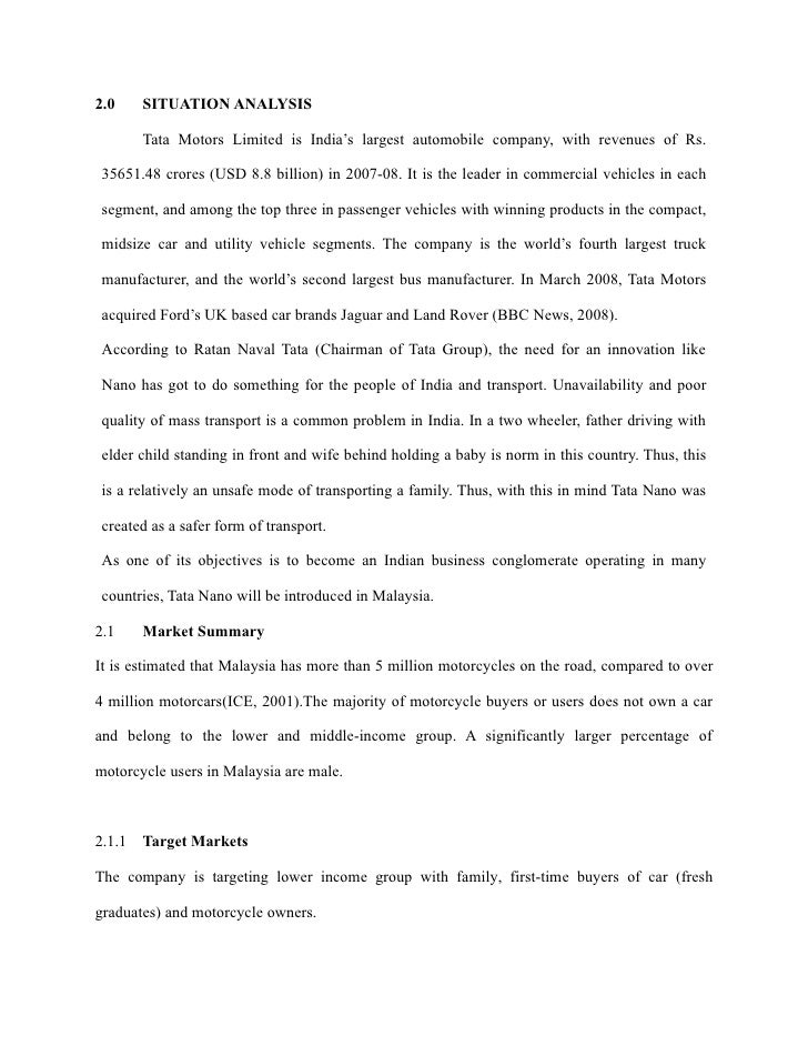 marketing plan of tata nano for uk market Marketing segmentation of tata nano in india and its targeting and positioning strategy 1017 words apr 26th, 2010 5 pages contents market segmentation, positioning, targeting: a case of tata nano in india executive summary: targeting and positioning strategy of tata nano and recommendations for the company are given.