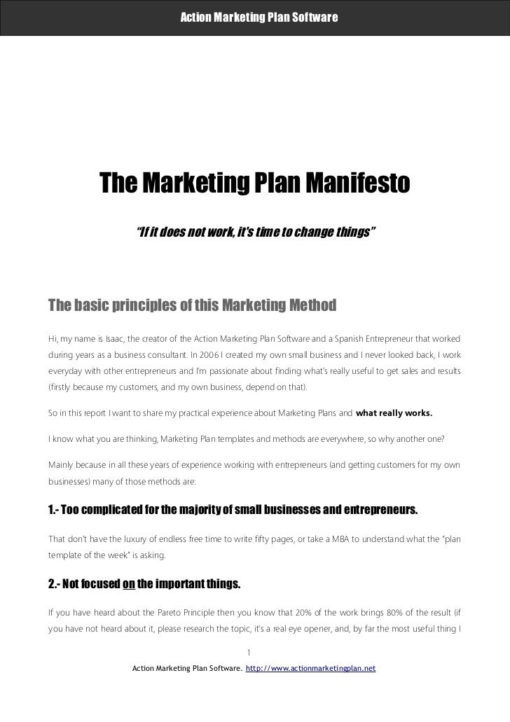 """Action Marketing Plan Software                     The Marketing Plan Manifesto                               """"If it does ..."""