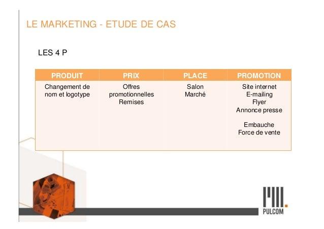 LE MARKETING - ETUDE DE CAS LES 4 P PRODUIT PRIX PLACE PROMOTION Changement de nom et logotype Offres promotionnelles Remi...