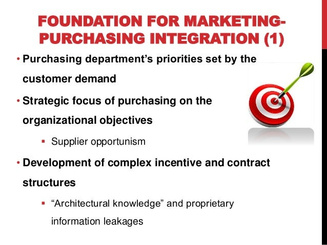why integrating purchasing with marketing is Traditionally, marketing's primary concern has been with demand generation and fulfillment of customer needs, while purchasing has focused attention on suppliers to ensure manufacturing and capacity utilization.
