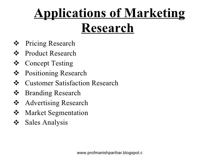 typical applications of marketing research It is very important to understand at the outset that the, modern concept of marketing revolves around the customer satisfaction of customer is the main aim of marketing for achieving this.