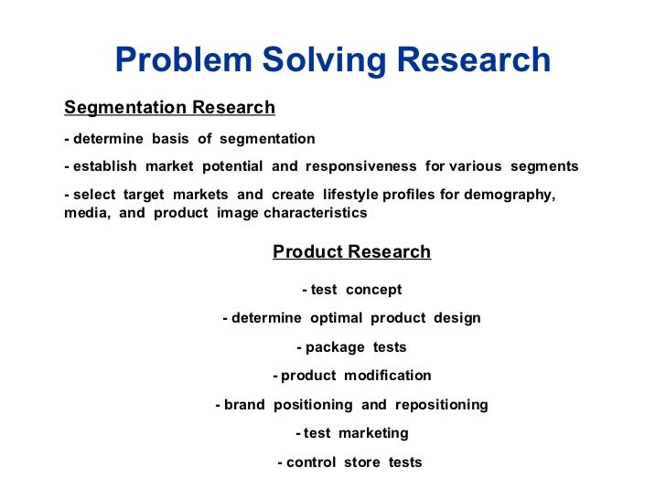 Table 1.1 Problem Solving Research  Segmentation Research - determine  basis  of  segmentation - establish  market  potent...