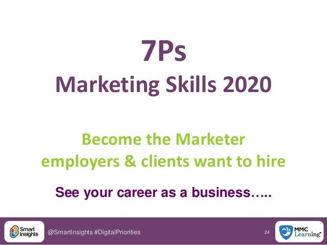 24@SmartInsights #DigitalPriorities 7Ps Marketing Skills 2020 Become the Marketer employers & clients want to hire See you...