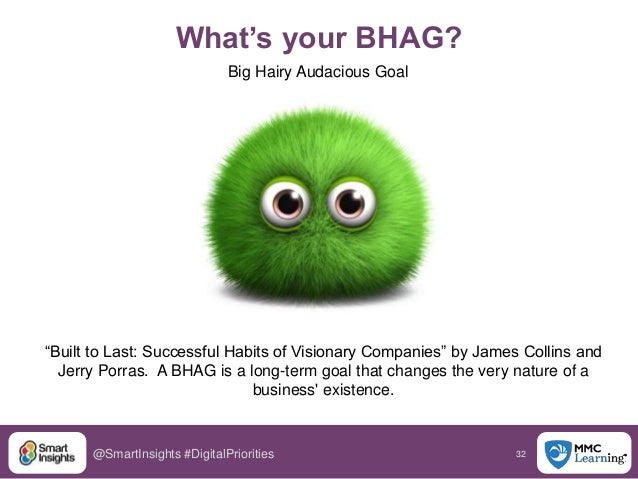 """32@SmartInsights #DigitalPriorities What's your BHAG? Big Hairy Audacious Goal """"Built to Last: Successful Habits of Vision..."""