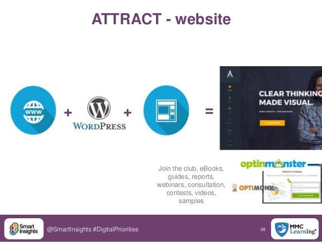 38@SmartInsights #DigitalPriorities ATTRACT - website + + = Join the club, eBooks, guides, reports, webinars, consultation...