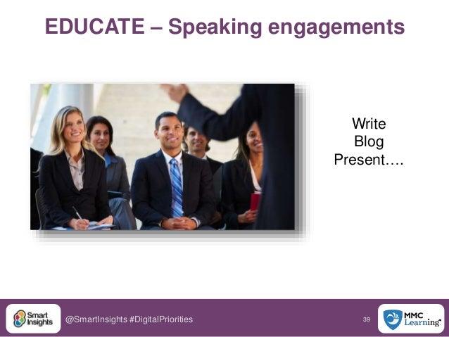 39@SmartInsights #DigitalPriorities EDUCATE – Speaking engagements Write Blog Present….