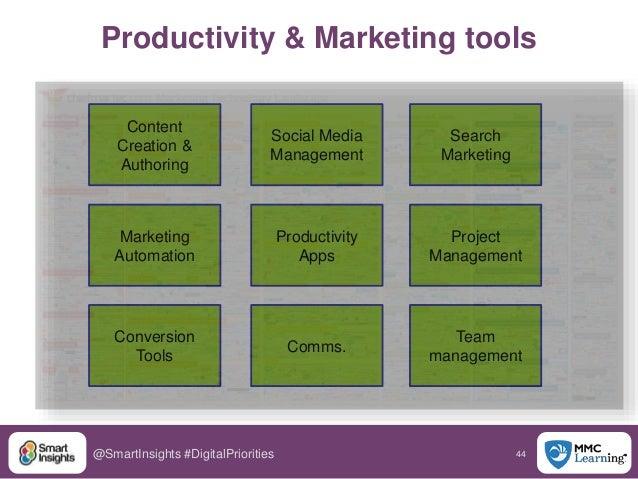 44@SmartInsights #DigitalPriorities Productivity & Marketing tools Content Creation & Authoring Social Media Management Se...
