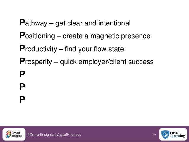 46@SmartInsights #DigitalPriorities Pathway – get clear and intentional Positioning – create a magnetic presence Productiv...