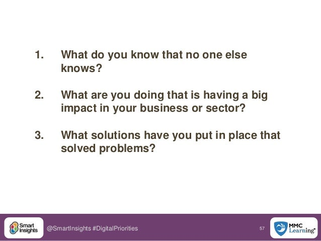 57@SmartInsights #DigitalPriorities 1. What do you know that no one else knows? 2. What are you doing that is having a big...
