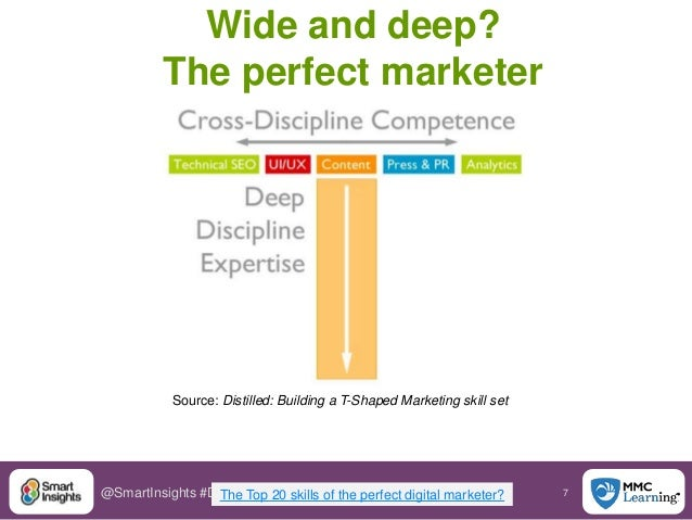 7@SmartInsights #DigitalPriorities Wide and deep? The perfect marketer The Top 20 skills of the perfect digital marketer? ...