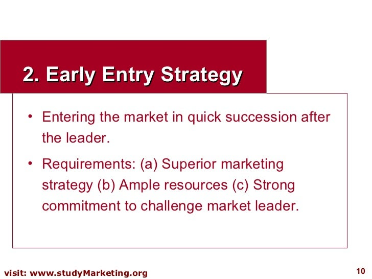 2. Early Entry Strategy <ul><li>Entering the market in quick succession after the leader. </li></ul><ul><li>Requirements: ...
