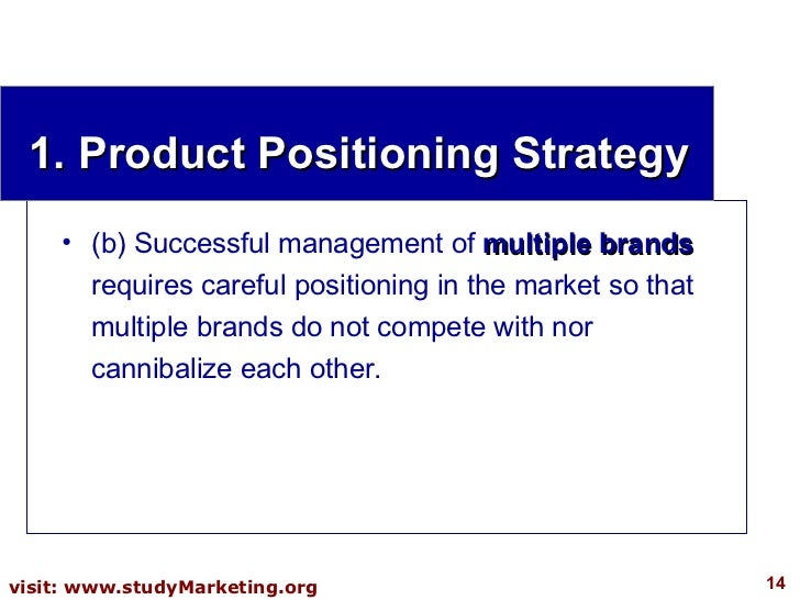 1. Product Positioning Strategy <ul><li>(b) Successful management of  multiple brands  requires careful positioning in the...