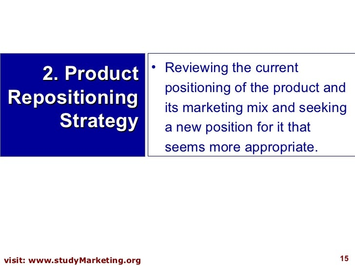 2. Product Repositioning Strategy <ul><li>Reviewing the current positioning of the product and its marketing mix and seeki...