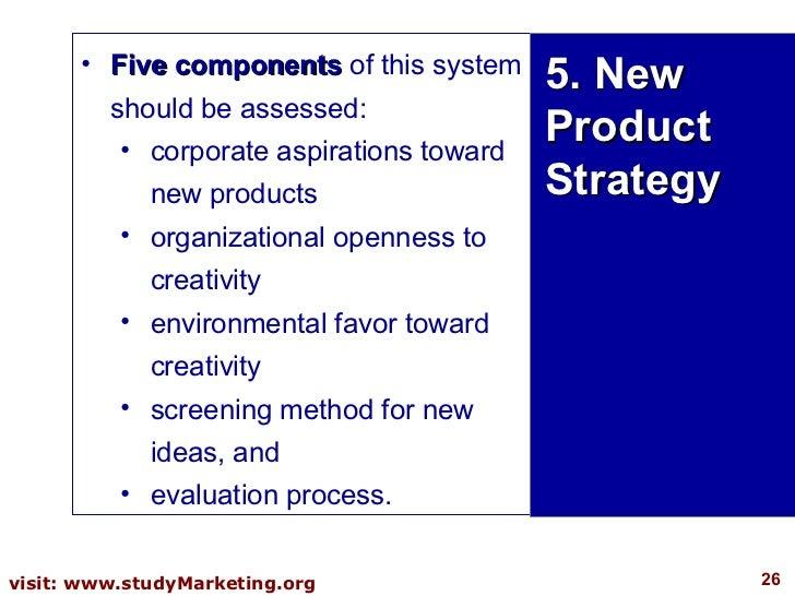 <ul><li>Five components  of this system should be assessed:  </li></ul><ul><ul><li>corporate aspirations toward new produc...