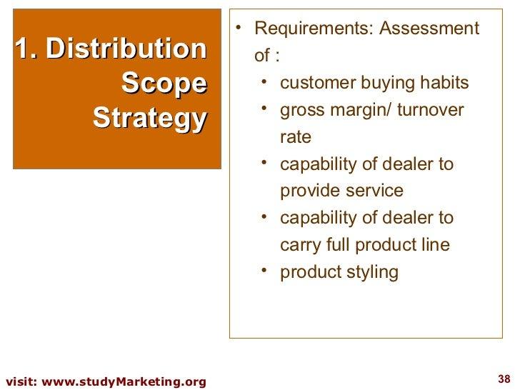 1. Distribution Scope Strategy <ul><li>Requirements: Assessment of : </li></ul><ul><ul><li>customer buying habits </li></u...